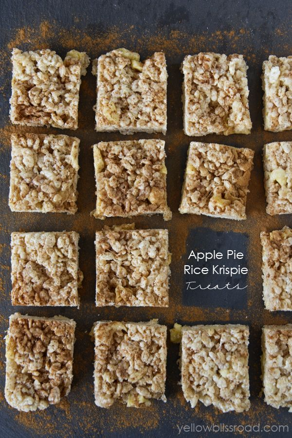 Apple Pie Rice Krispie Treats - a new variation of an old favorite, full of the best flavors of fall!