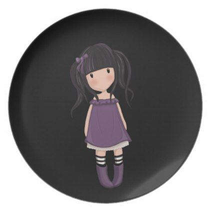 Dolly girl in purple dinner plate - kitchen gifts diy ideas decor special unique individual customized