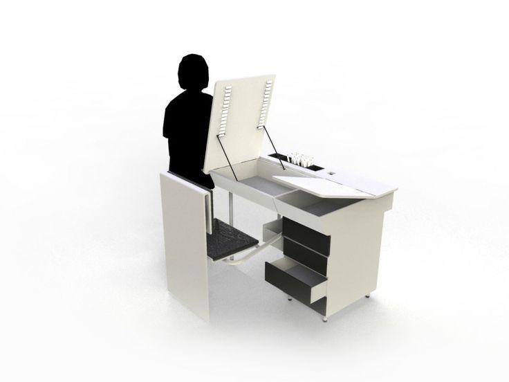 Design - alexisfournier-design ////// Création mobilier pour le concours de fly ... Mobilier pour une chambre d'enfant qui fait à la fois bureau / table à dessin avec un jeu de trappes et de rangements dans l'esprit d'une assise que nous trouvions dans les vieux banc des anciennes écoles .