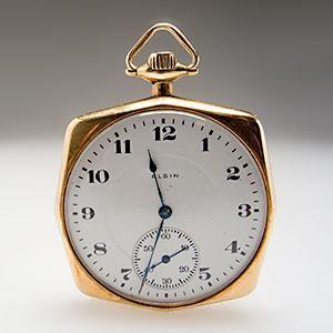 Antique Elgin Squared Pocket Watch Engraved 14K Gold 1919 - EraGem
