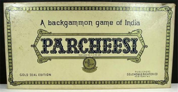 VTG 1959 Parcheesi Board Game No.2 Gold Seal Edition India Selchow Righter