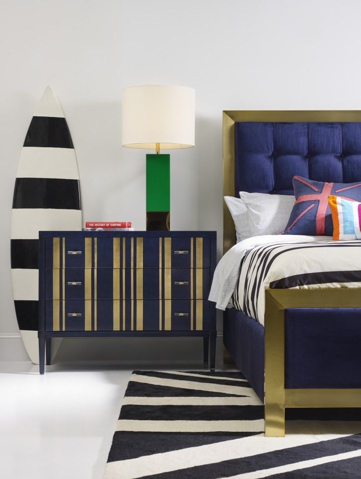 The Sporty Balthazar King Upholstered Bed and Parker Striped Bachelors Chest in the Cynthia Rowley for Hooker Furniture Collection