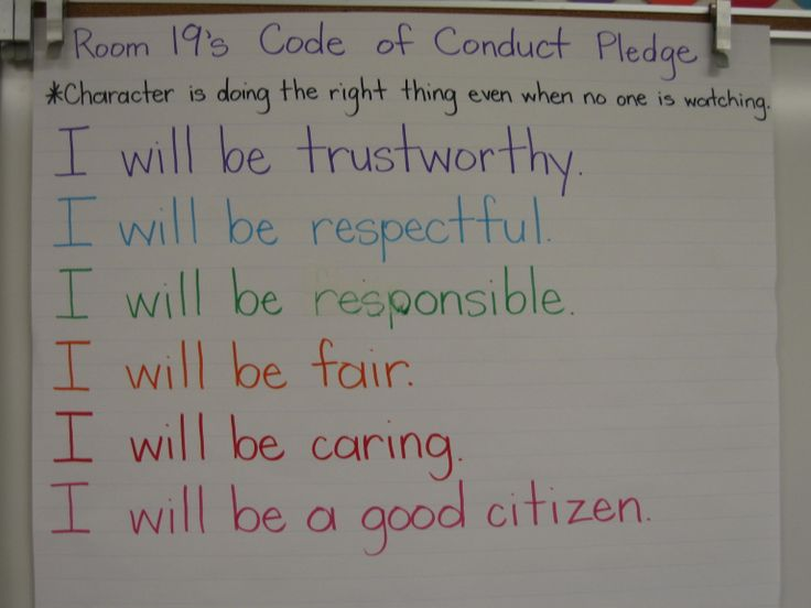 Code of Conduct-chart size poster that everyone signs after learning about the different character traits.  This is their pledge to follow the code of conduct.