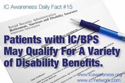 IC Awareness Month Daily Fact #15 - There are four types of disability insurance available in the USA for patients struggling with interstitial cystitis IC/BPS. Learn more here!
