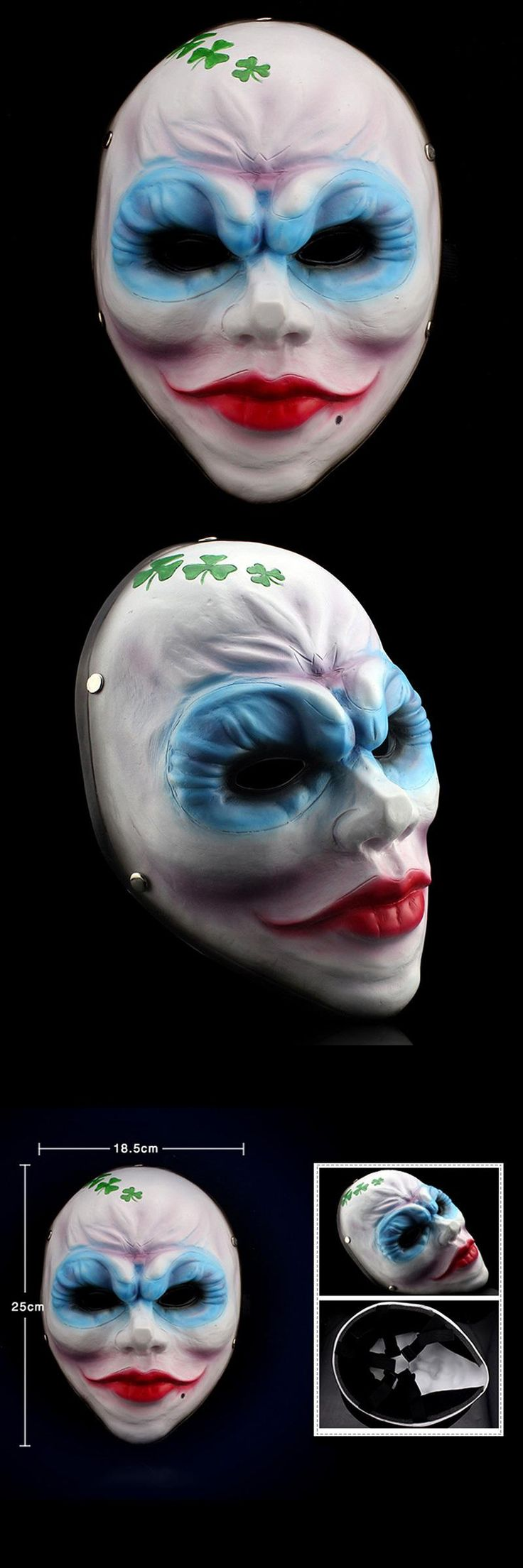 [Visit to Buy] Resin Payday 2 Masks Heist Female Clover Mask Game Replica for Airsoft Movie Mask Fancy Costume Masquerade Halloween Cosplay #Advertisement