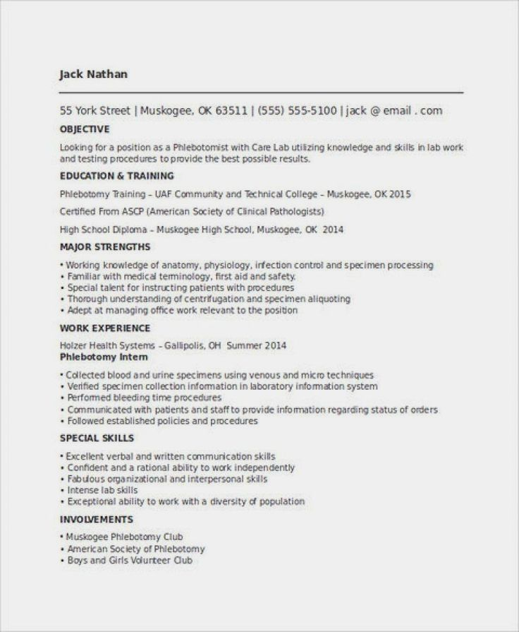 Phlebotomy Resume Sample and Tips (With images