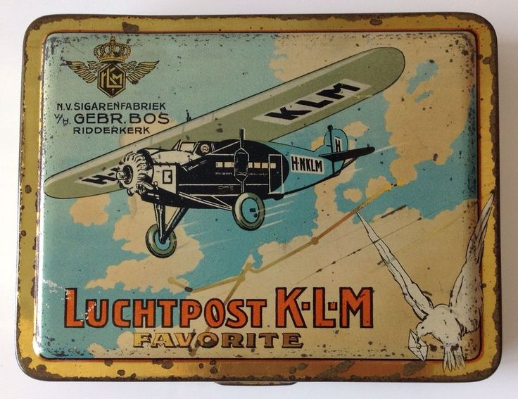 ANCIENNE BOITE CIGARETTES LUCHTPOST KLM FAVORITE vers 1920-30 TIN BOX