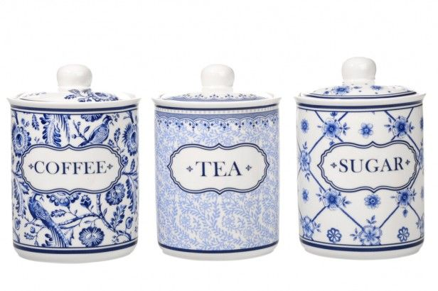 Coffee Tea Sugar Canisters - blue and white pottery