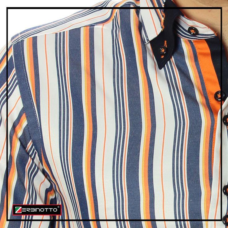 Стильная мужская рубашка приталенного кроя коллекция Bellino. Рубашка выполнена в красиво сочетаемую разноцветную полоску. Воротник рубашки мужской двойной на пуговицах, выделен контрастным цветом отличительной тональности. Манжеты мужской рубашки двухсторонние. Подробнее →http://zerbinotto.com/5-rubashki-pritalinie-slim-fit