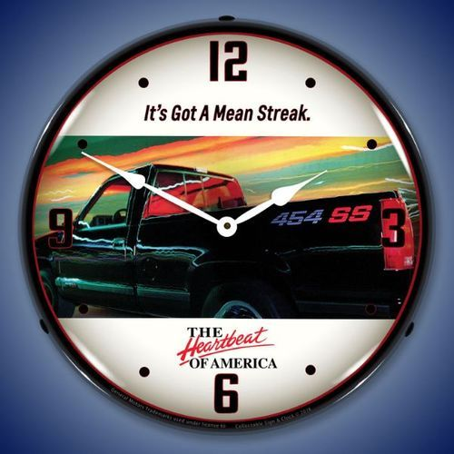 Chevrolet 454 SS Truck LED Lighted Wall Clock 14 x 14 Inches