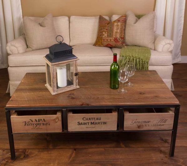Wine Country Coffee Table: What a statement this coffee table will make in your home, or should we call it a wine table? Constructed of reclaimed wood and steel this unique and fabulous table also features storage for your favorite wines with three slide out wine crates. A look that transcends many styles this coffee table is sure to please.