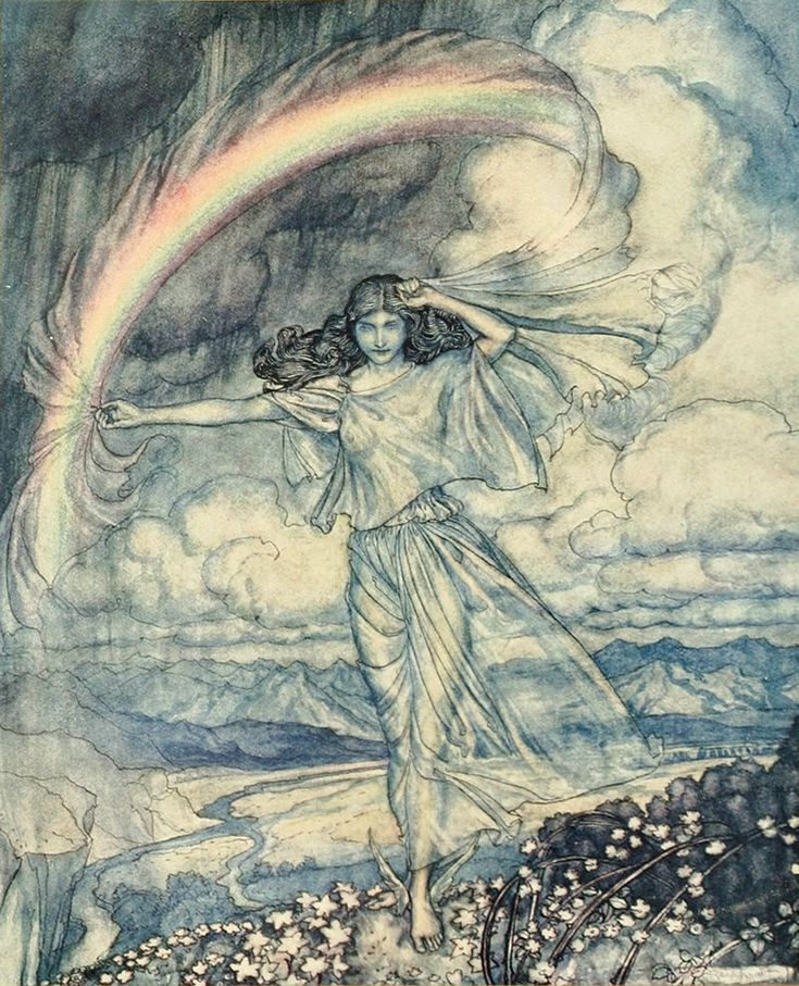 Arthur Rackham; Iris, the messenger of Hera and Goddess of the rainbow.
