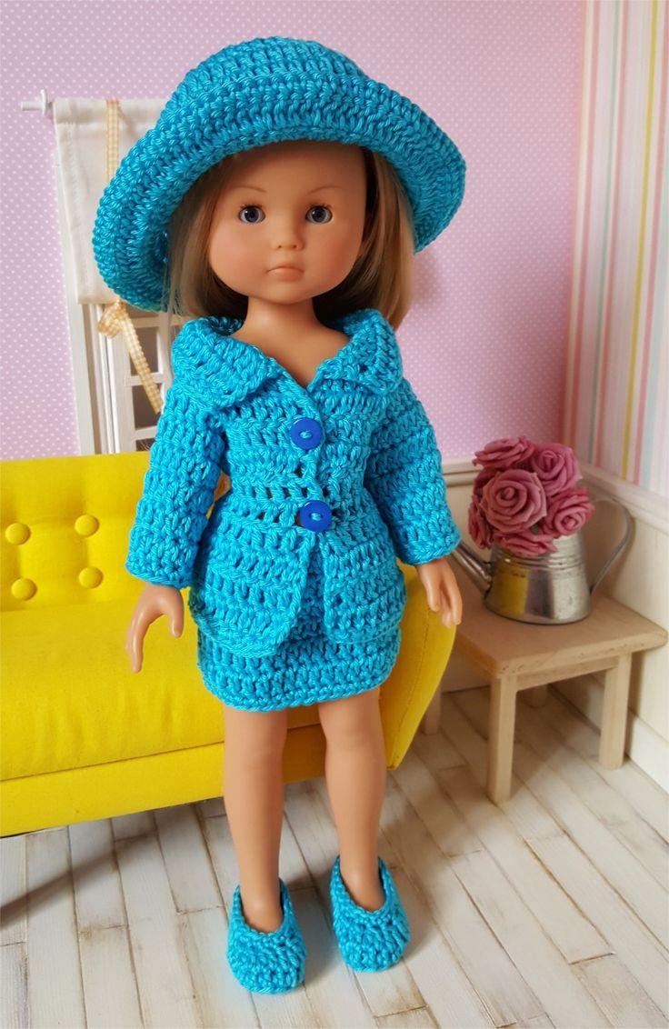 124- FICHE PATRON CROCHET Ensemble Tailleur pour poupée Chérie de Corolle ou Paola Reina : Jeux, jouets par atelier-crochet