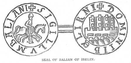 A drawing of Balian of Ibelin's seal, from The Crusades: The Story of the Latin Kingdom of Jerusalem, by T. A. Archer and Charles Lethbridge Kingsford (London & NY, 1894). The rowel-spurs (of a later date) are probably an error by the 19th century artist copying the seal.