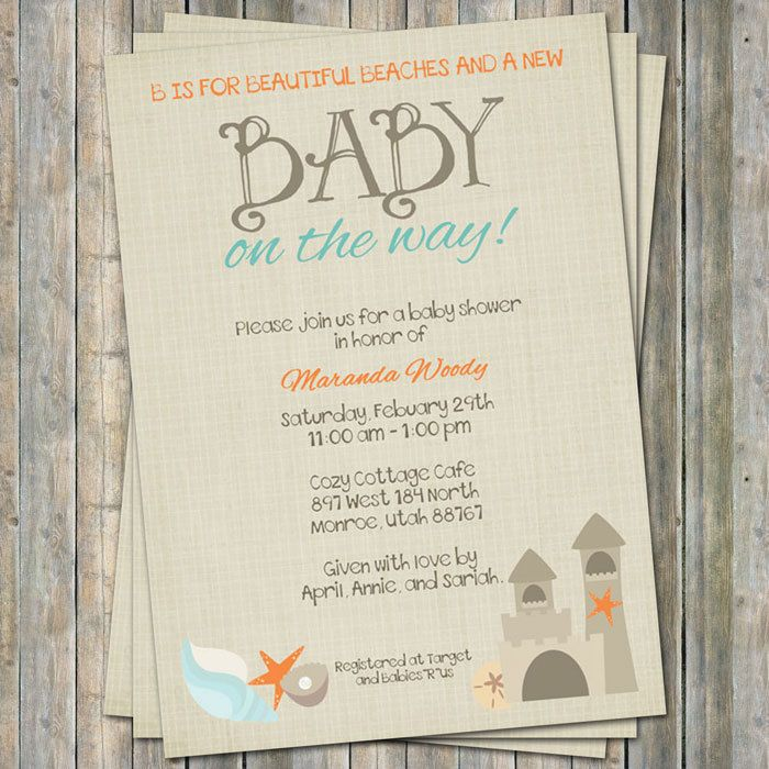 Beach Baby Shower Invitation,  baby shower invitation,  Digital, Printable file. $13.00, via Etsy.