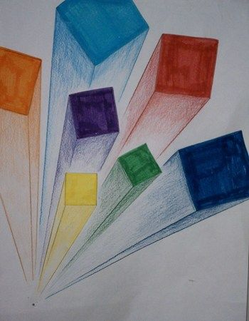 Great idea for an art lesson to cover: color, shading, shape, perspective & composition all in 1 lesson.