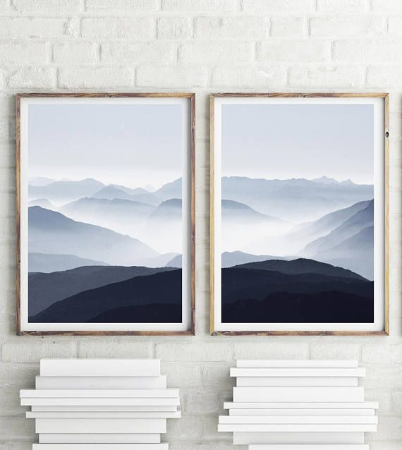Blue Mountain Mist Print 2 Set Prints Modern Minimalist