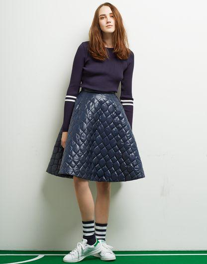 Le Ciel Bleu Border Rib Pullover and Quilt Flared Skirt