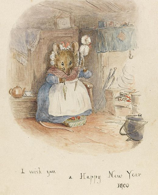 """Beatrix Potter, """"MOUSE HAND-SPINNING BY THE FIRE"""" 