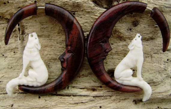 Fake gauge earrings  Wolf howling at Moon Bone Split by ANELAJADE, $28.00