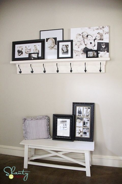 DIY hanger shelf with step by step directions. I need this for the entry way downstairs!!