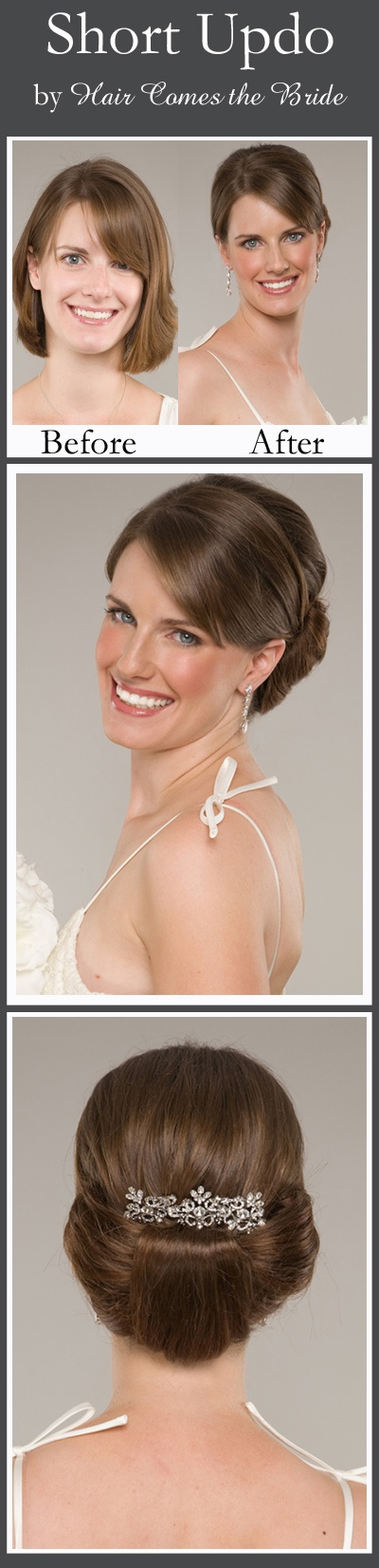 White and Gold Wedding. Bridesmaid Hair. Short Updo by Hair Comes the Bride