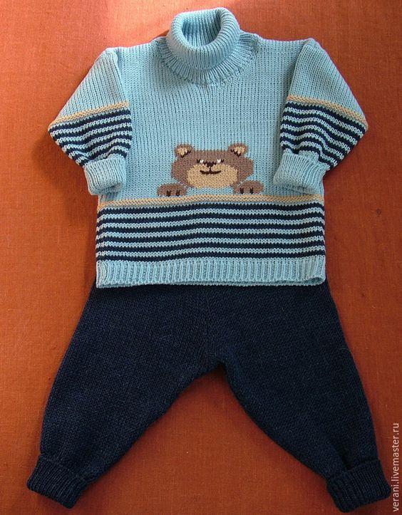 Купить Комплект из шерсти Забавный медвежонок - костюм шерстяной, Костюм вязаный, костюм для мальчика: