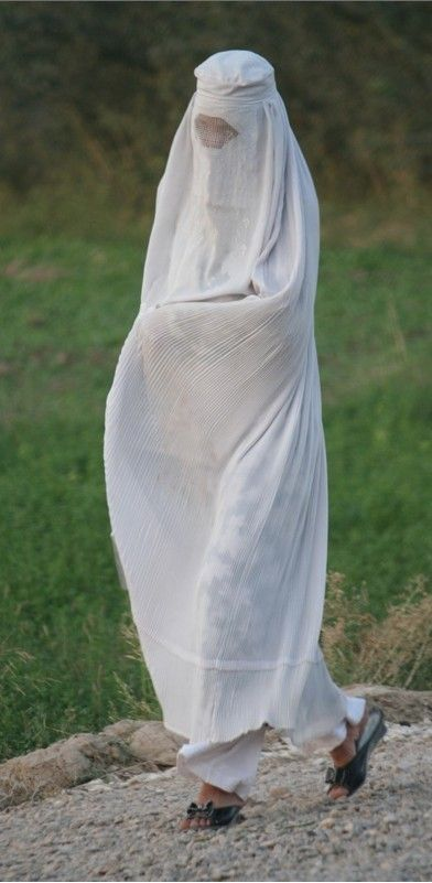 Afghani White burqas signify new brides, or women from the northern city of Mazar-e Sharif.