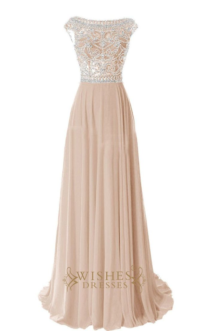Look charming at your prom, Fomral party in this stunning long chiffon dress,cap sleeves with beaded details and zipper back. Neckline:Scoop Length:Floor length Details:Beaded Fabric:Elastic Satin,Chi