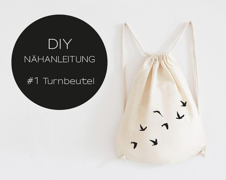 DIY Nähanleitung, Turnbeutel, Rucksack  // DIY sewing instruction, gym bag by EULENSCHNITT via DaWanda.com
