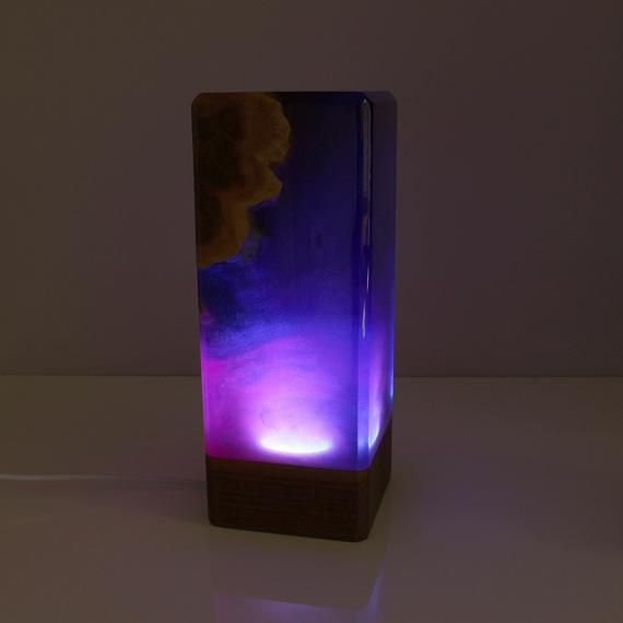 Galaxy lamp, Resin ambient lighting, Art lamp, Resin and wood decoration, decoration, Resin table de