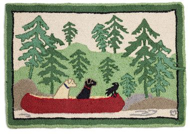 Dogs Day Out 2'x3' Hooked Wool Rug