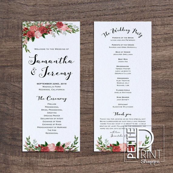 Best 25 wedding program template word ideas on pinterest hello and thanks for visiting petite print shoppe this listing is for a printable floral wedding program templatesinvitation pronofoot35fo Images