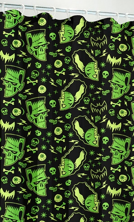 Retro Monsters Shower Curtain