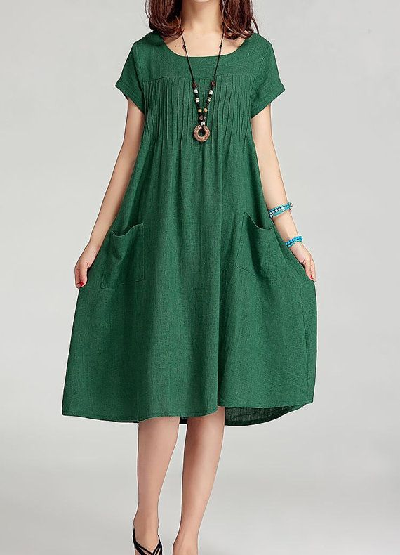Lovely green! Linen dress maxi dress short sleeve dress by Perfect Clothing, $55.00