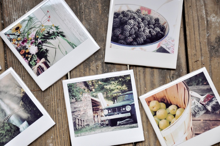 diy photo coasters. could do this w/ other printables too - darkroomanddearly