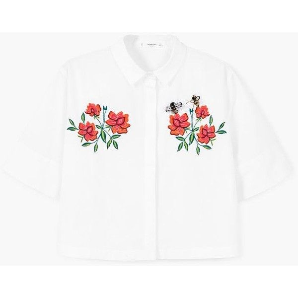 MANGO Embroidered shirt (13.765 HUF) via Polyvore featuring tops, white short sleeve shirt, short sleeve tops, short sleeve collared shirts, collared shirt and white short sleeve top