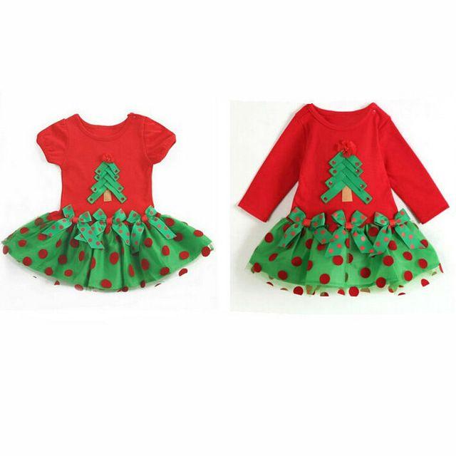 2015 árvore de natal vestido para bebé recém-nascido crianças vestido vermelho da menina princesa de manga comprida vestidos de festa da menina da criança tutu vestido