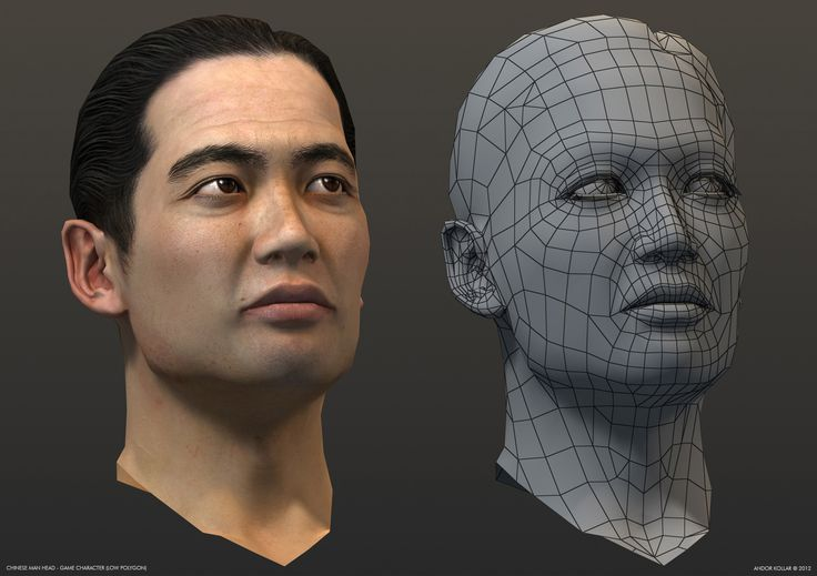 Chinese man head wireframe, low polygon game character in 3d