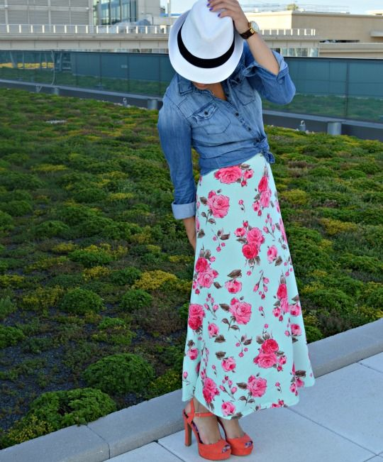 Fashionably Lo in a #LulaRoe Floral Maxi, @Forever 21 Chambray and @GoJane Sandals