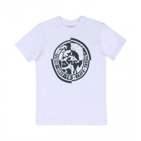 """T-SHIRT BIMBI DIESEL KID T-Shirt per bambini della Diesel Kid in morbido e fresco jersey di cotone di colore bianco con maniche corte e una stampa serigrafica frontale in contrasto intitolata """"Only the Brave"""". T-Shirt Diesel Kid ideale per la scuola è il tempo libero. #diesel #dieselkid #t-shirt #magliette #shirt #boy #baby #kid #junior #child #children #abbigliamento #clothing #shoponline #ecommerce #fashion #moda #saldi #sconti #promozioni"""