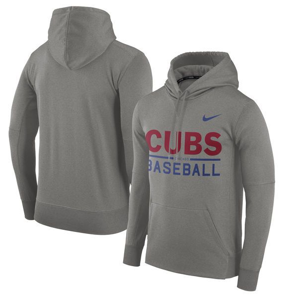Men's Chicago Cubs Nike Heathered Gray Pullover Hoodie
