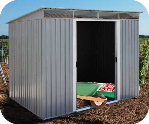 Customiz this one - $800 DuraMax 8x6 Pent Roof Metal Shed Kit w/ Skylights