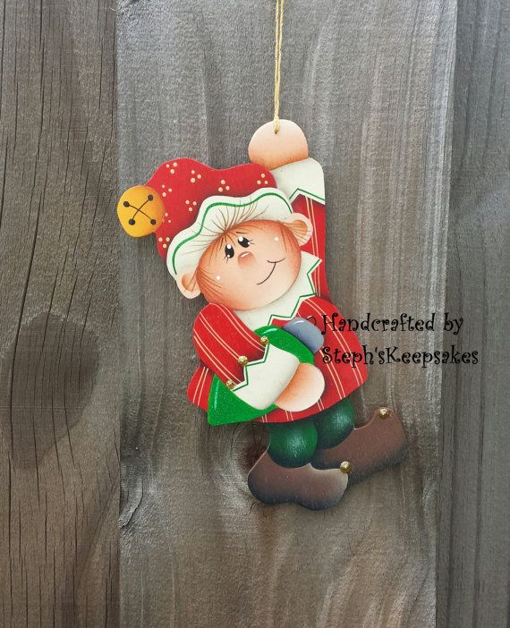 Handpainted  Christmas elf  Ornament, christmas crafts, wooden christmas ornaments, tree decor, elves,