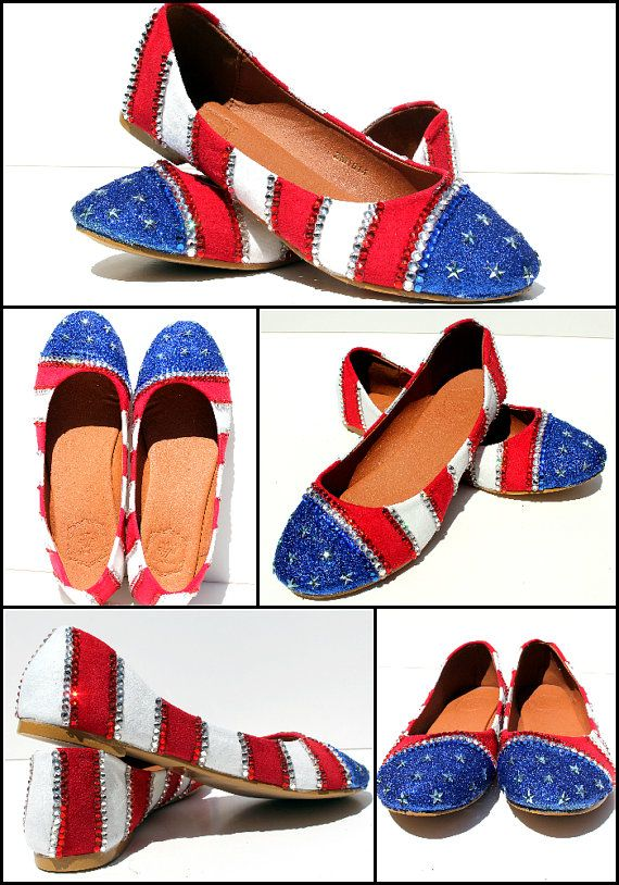 Patriotic American Flag 4th of July Flats with by WickedAddiction, $95.00