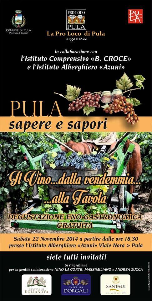 """#Pula 22 Novembre 2014  Sapere & Sapori degustazione enogastronomica gratuita a cura della Pro Loco Pula in collaborazione con l'Istituto Comprensivo """"B.Croce"""" e l'Istituto Alberghiero """"Azuni""""  #Sardegna #VisitPula https://www.facebook.com/Pula.it/photos/a.148263651963894.3356.142246605898932/266276483495943/?type=1&theater"""