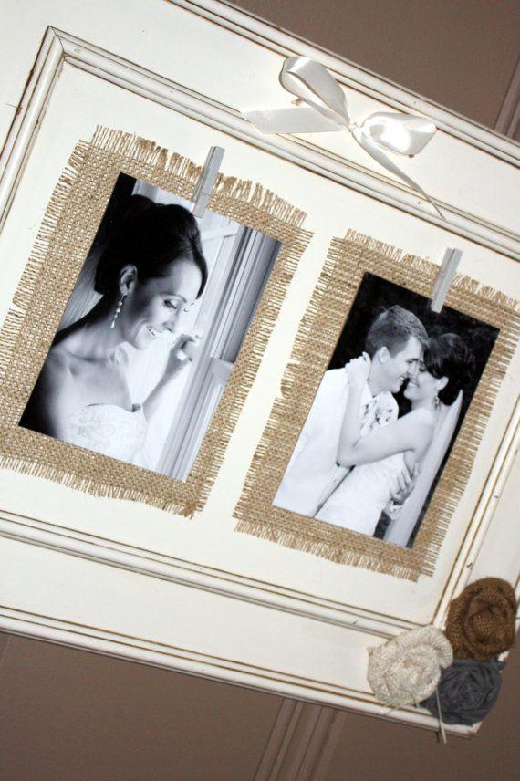 i like the idea of using black & white photos on burlap