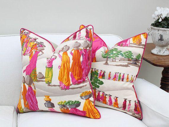 20 Sq Manuel Canovas Sari Linen Pillow Cover by PinkandPiper, $90.00