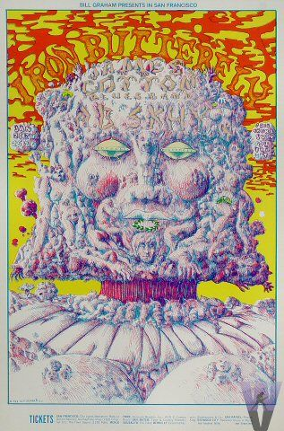 Classic rock concert psychedelic poster - Iron Butterfly at Fillmore West 1/23-26/69 by Lee Conklin