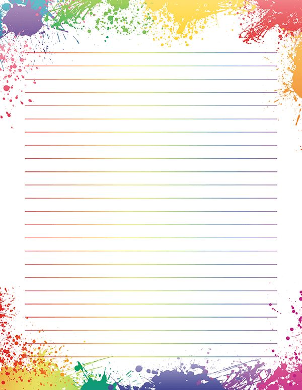 image about Free Printable Stationery Paper called Free of charge printable rainbow paint splatter stationery within just JPG and